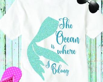 Mermaid Svg, The Ocean is where I belong, mermaid life Beach Life svg waves svg scales summer svg, Eps, Dxf, Png beach life, Mermaid shirt