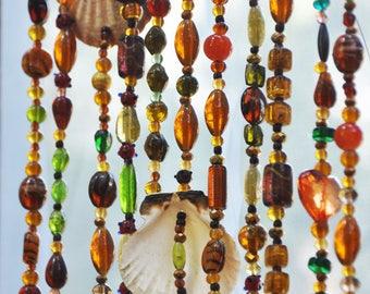Door beaded curtains, Door beads with sea shells, Seashells strings,  Beaded curtain, Hanging door beads,Room divider, Seashell decor,