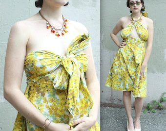 Vintage 1940s Cotton Sun Dress or Skirt // 40s 50s Yellow Floral Strapless Halter Peekaboo Dress // Rockabilly Pin Up Dress or Skirt