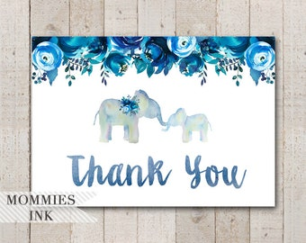 Watercolor Elephant Folded Thank You Note, Elephant Thank You Card, Folded Note, Blue Floral Thank You Note, Elephant Thank You Note