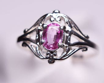Pink Sapphire Ring, Genuine Gemstone 6x4mm Oval, Set in Scroll 925 Sterling Silver Sollitaire Ring