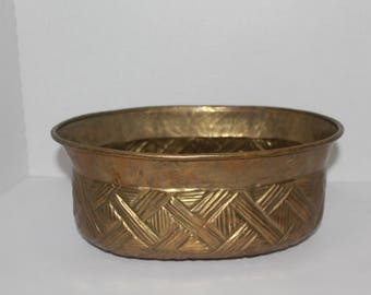 Vintage Brass Oval Planter With Geometric Design, Brass Oblong Planter Pot