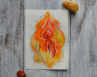 Lily / Orange Watercolor Yoni Painting, Vulva Painting, Vagina Painting, Labia, Feminine Art, Fertility Art, Body Positive Art