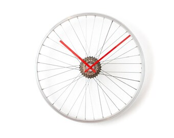Bike Wheel Clock, Large Wall Clock, Unique Clock, Steampunk Modern Industrial Bicycle Wheel Clock, Cycling Gift, Unique Wall Clock