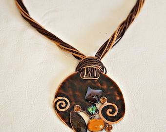 Vintage Copper Pendant Handmade Necklace Enamel Colorful Stones