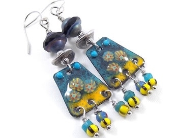 Handmade Blue and Yellow Enameled Earrings, Silver Earrings, Murini Earrings, Artisan Earrings, Boho Earrings, Antique Silver - AE172