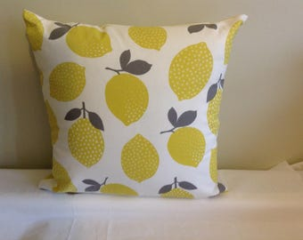 "Modern 16"" grey, yellow, gray lemon, lemons cushion cover, scatter cushion, pillow case"