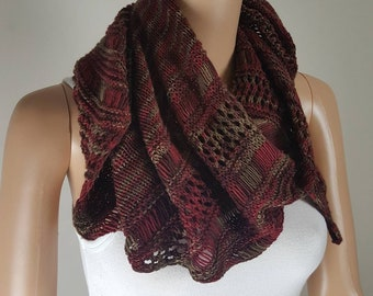 Maroon and aircraft green hand knit shawl, scarf, wrap