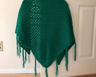 Emerald Green Shawl / Open Poncho