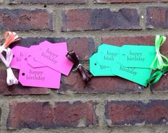 happy birthday . tags . riboon . tag kit