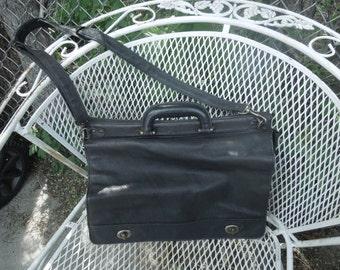 Vintage Black Leather Briefcase Attache Laptop Bag Tote Messenger Handbag