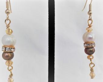 Fresh Water Pearls and Topaz Crystal Dangling Earrings