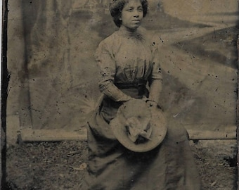 Black Americana Tintype photograph Pretty woman with hat