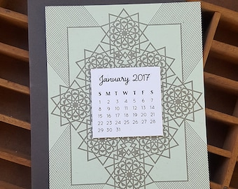letterpress geometric mini calendar 2018