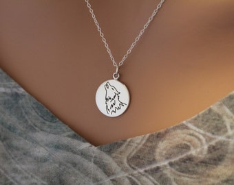 Sterling Silver Wolf Charm Necklace, Wolf Necklace, Wolf Pendant Necklace, Wolf Spirit Animal Necklace, Spirit Animal Charm Necklace