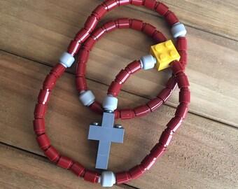 Rosary made of Lego Bricks - Maroon, Light Gray, Yellow & Dark Gray Catholic Rosary