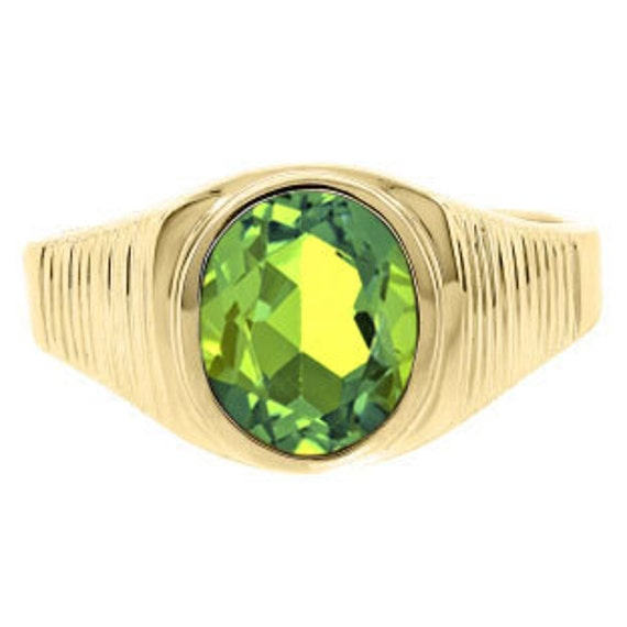 Mens OvalCut Peridot Gemstone Simple Ring In White Rose