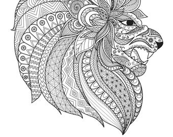 "LION (Ornate) Coloring Page 8.5""x11"""