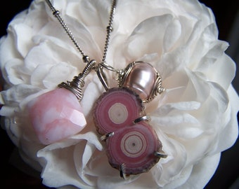 Rhodochrosite stalactite, Pink Peruvian opal pillow, Pink Freshwater pearl wire wrapped pendant sterling silver ball cable chain, necklace