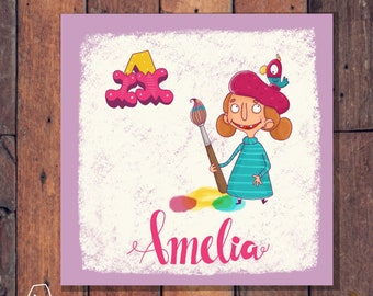 Girls Personalized Illustrated prints -nursery print-gift