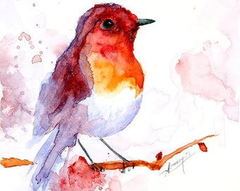 Watercolor painting watercolor bird painting bird art animal illustration bird PRINT