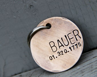 Custom Dog Tag / Pet ID Tag - Bauer - in Brushed 1.25'' Bronze