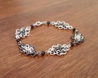 Black and Silver Tone European Chainmaille Swarovski Crystal Bracelet