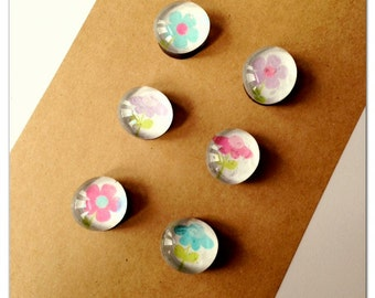 Bright Flower glass magnets