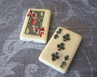 Playing Card Beads Carved Bone lot of 2 25mm JACK of HEARTS, Three of Clubs red black ivory