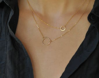 Dainty Circle Necklace, Everyday Necklace, Karma Necklace, 14k gold fill, Delicate Chain, Norah Stella Jewelry, Eternity Necklace, NS40