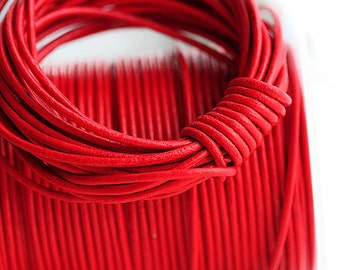 1.5mm Round Leather cord - Bright Red leather cord - 10 feet, LC053