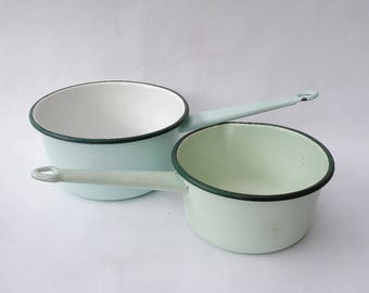 Vintage French green enamelware saucepans,  two pale green enamel saucepans, casseroles en émail, French country