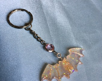 Iridescent Orange Bat Keychain