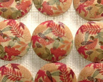 "Falling Leaves: 3/4"" (19mm) Wood Buttons - Set of 9 New / Unused Buttons"