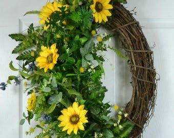 Sunflower Door Wreaths - Sunflower Front Door Wreaths - Summer Wreaths - Sunflower Fall Wreaths - Sunflower Decor - Sunflower Decorations