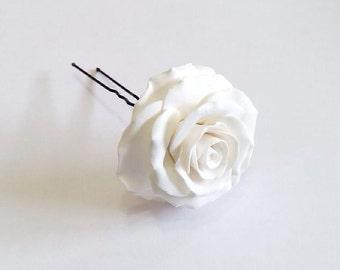 White Roses Wedding Hair Accessories, Wedding Hair Accessory pin Bridesmaid Jewelry, Bridal hair pins