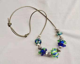 Lampwork Glass Bead Necklace on Leather cord