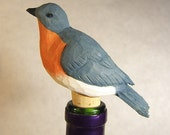 Handmade Bluebird Bottle Stopper Wood Carving Unique Gift Decorative Art Sculpture Barware