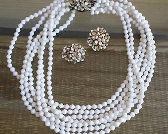 Vintage SANDOR set strands milk glass necklace and clip on earrings