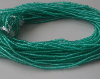 Green Waist Beads, 2 mm Glass Beads, Long Strand 40 inches