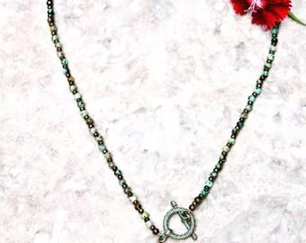 Turquoise Jasper Patina Aspen leaf gemstone necklace