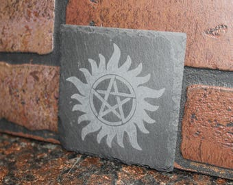 Engraved Slate Anti-Possession Symbol Coaster - Supernatural