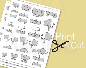 Cute Elephant Planner Stickers, baby elephant Printable Stickers for planner - kawaii elephant printable sticker sheet- instant download