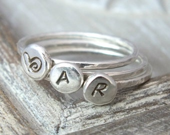 Dainty Sterling Silver Initial Rings, Personalised Hand Stamped Discs, Hammered Stacking Rings, Set of 3