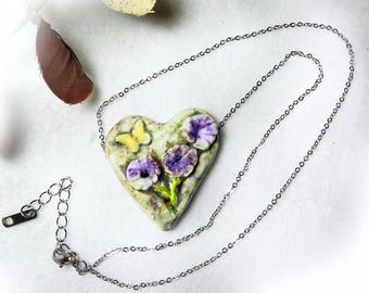 Ceramic Heart Necklace - Earthy Heart Necklace - Heart Jewelry - 18 Inch Chain - one of a kind necklace - gift necklace  # 169
