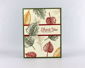 Thank You Card - Hand Stamped Card - Stampin Up Card - Thanks Card - Gratitude Card - Fall Leaves Card - Autumn Thank You  Card
