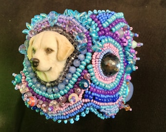Zoey, my Laura Mears porcelain cabochon Labrador head, surrounded by seed  bead embroidery!!!!