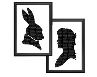 Alice In Wonderland The White Rabbit Silhouette Print Set Black and White Lewis Carroll Quote Literature