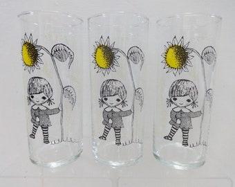 3 high ball glasses girl with sunflower design Vintage