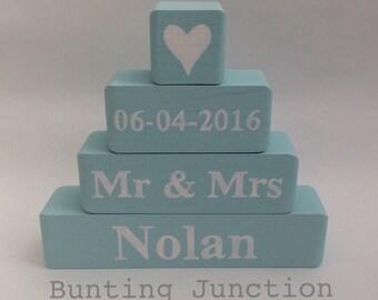 Personalised wooden blocks wedding family